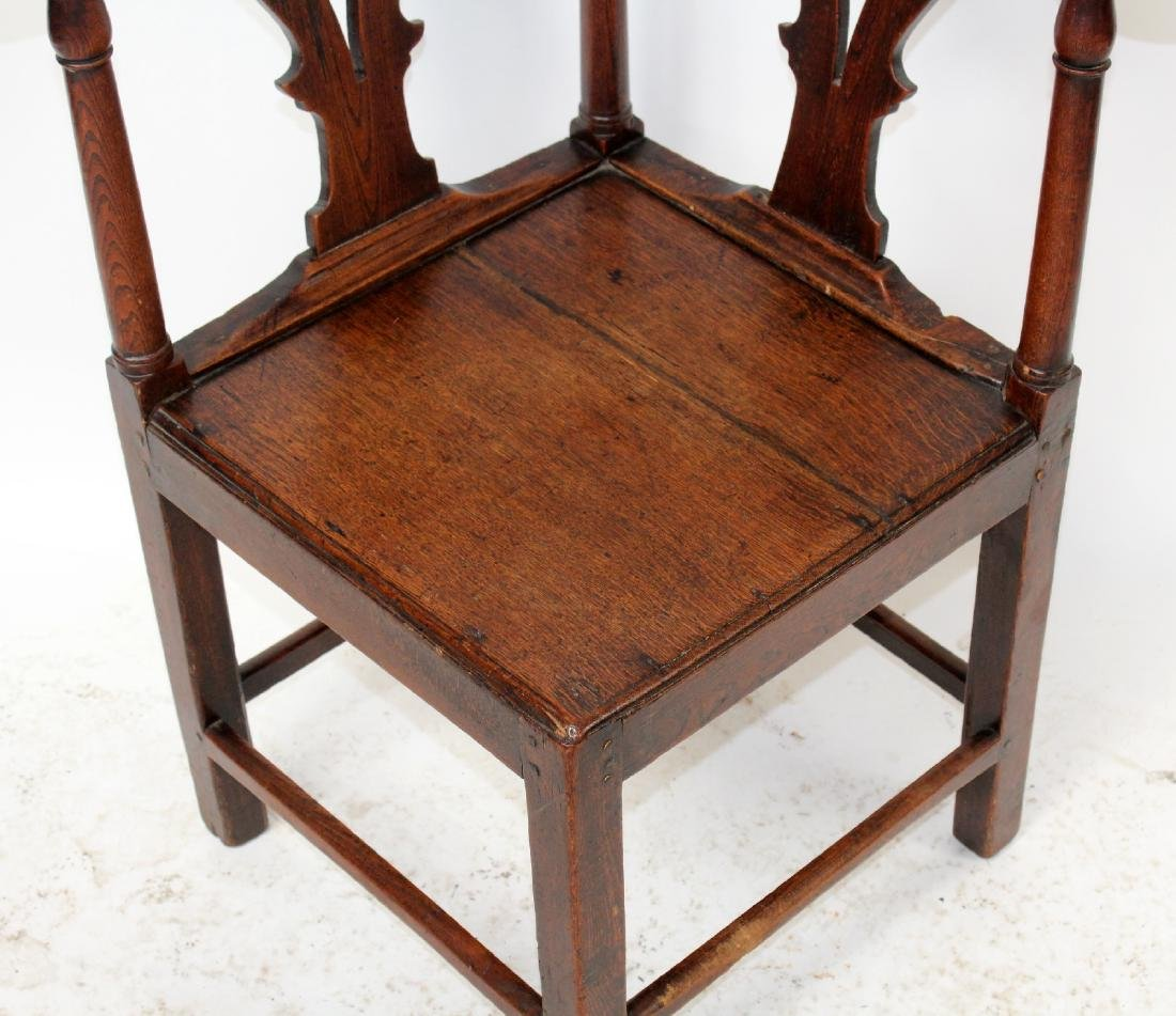 English Chippendale corner chair in oak - 4