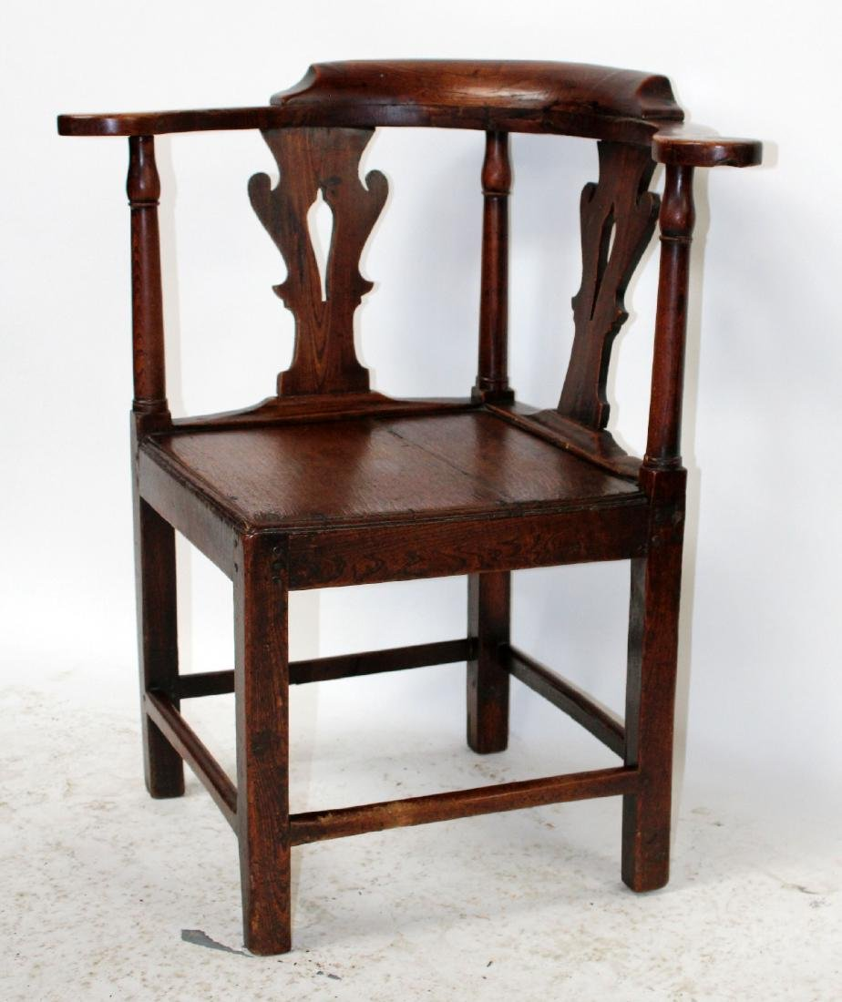 English Chippendale corner chair in oak - 5
