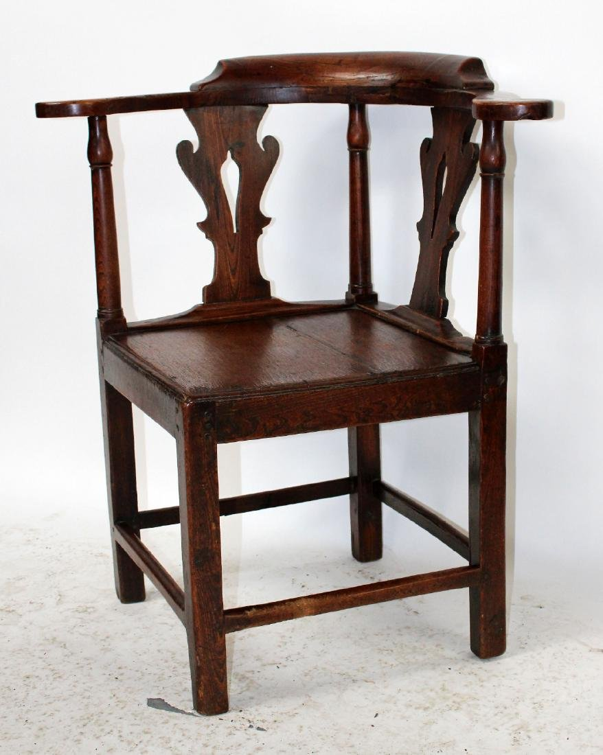 English Chippendale corner chair in oak - 6