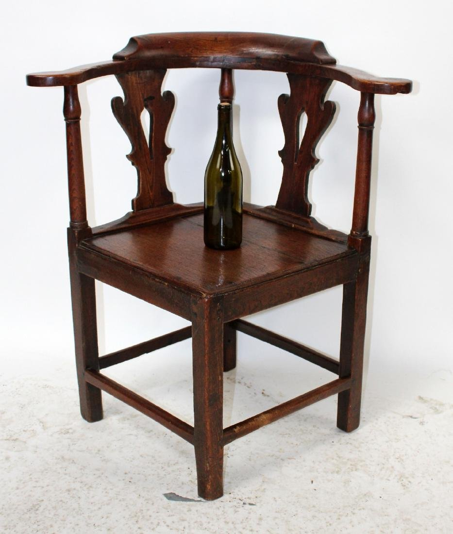 English Chippendale corner chair in oak - 7