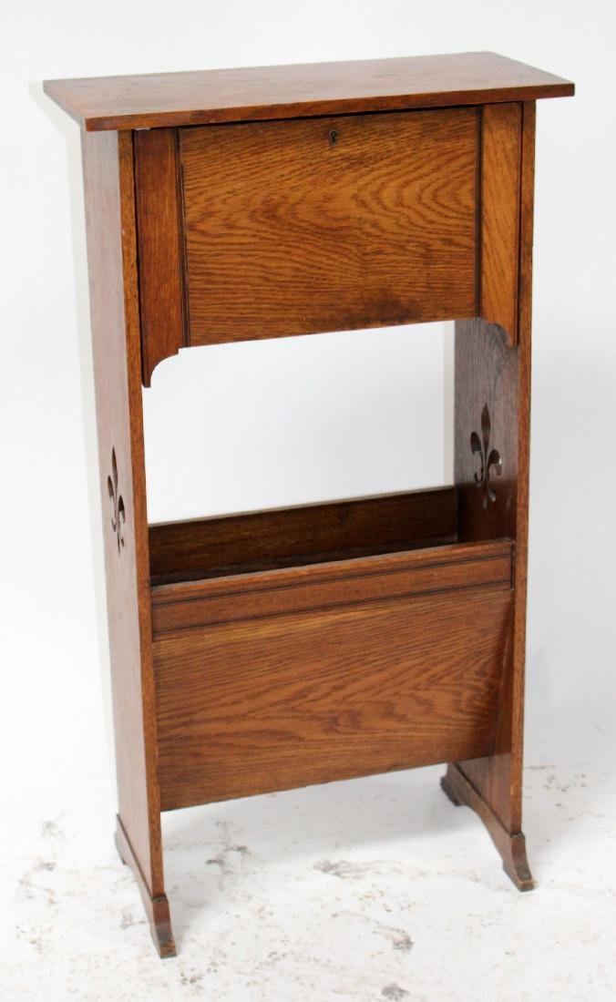 French oak magazine rack with fleur de lys