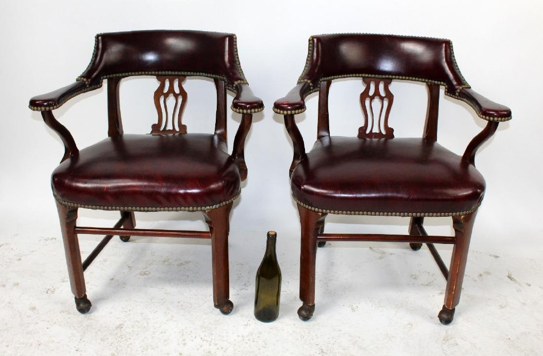 Pair of vintage red leather armchairs - 5