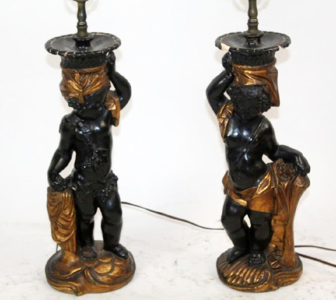 Pair of Venetian blackamoor lamps