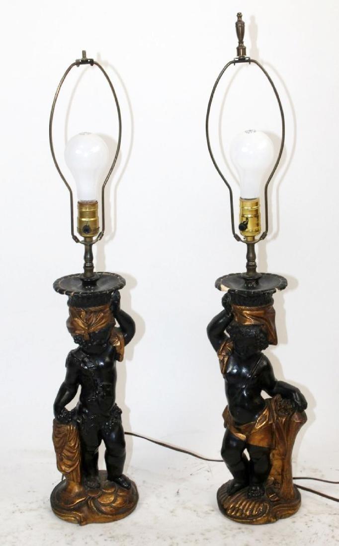Pair of Venetian blackamoor lamps - 3