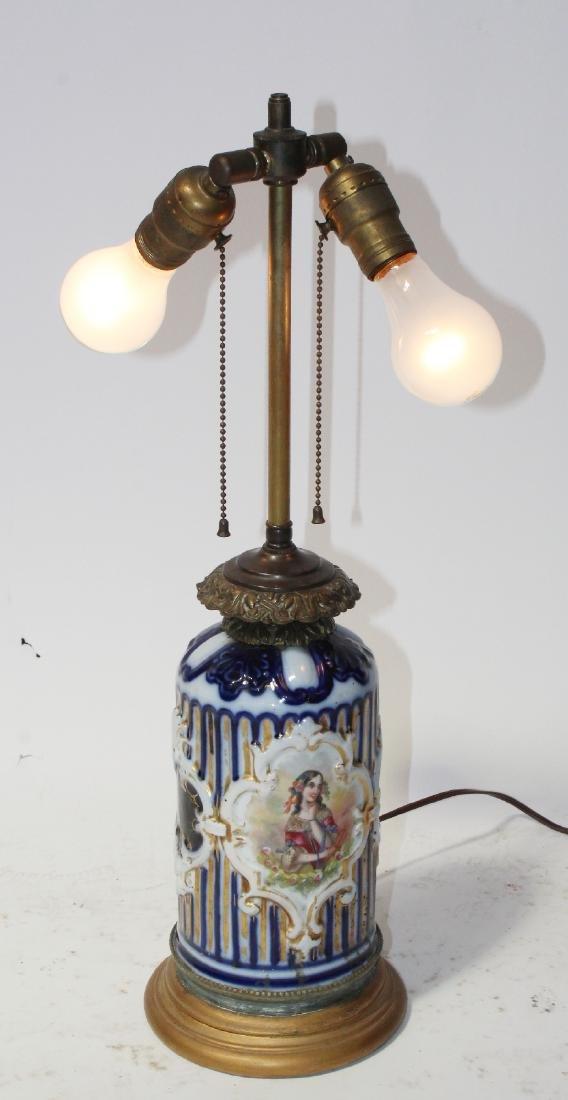 Victorian cobalt porcelain portrait lamp
