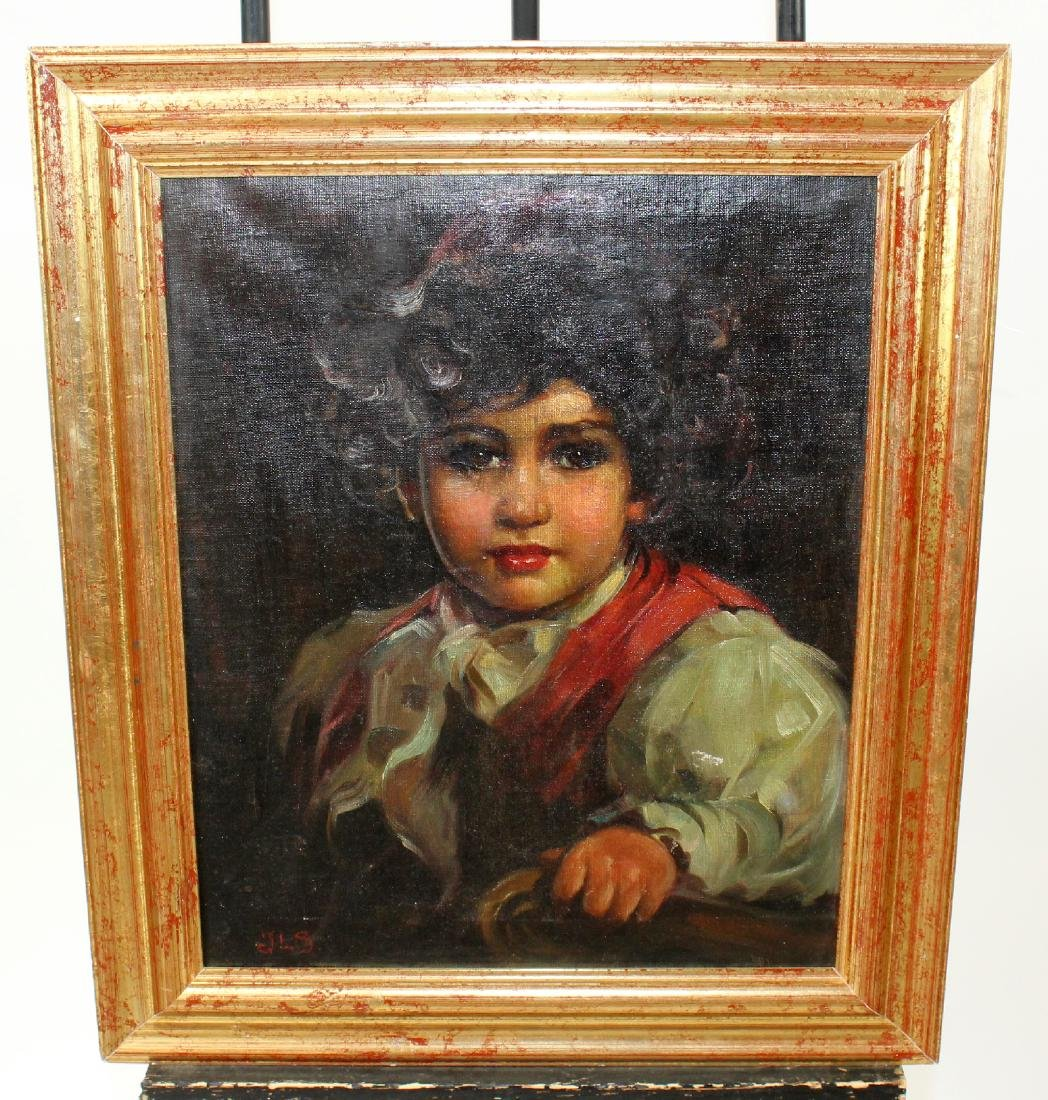 Oil on canvas portrait of a young child