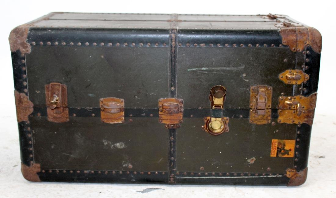 Antique American Belber wardrobe steamer trunk.