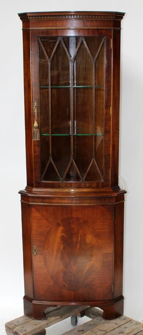 Mahogany Sheraton style corner cabinet