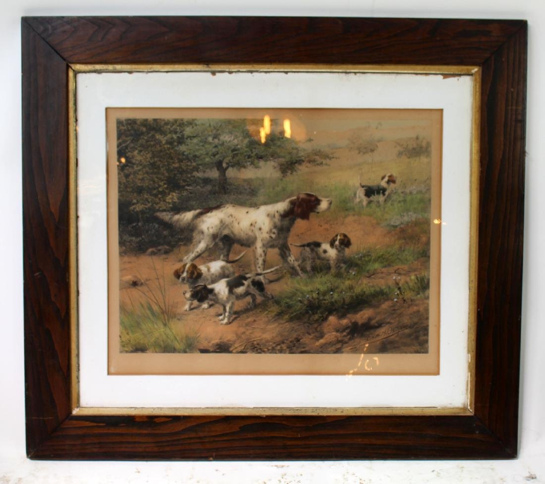 Framed Antique print depicting hunting dogs