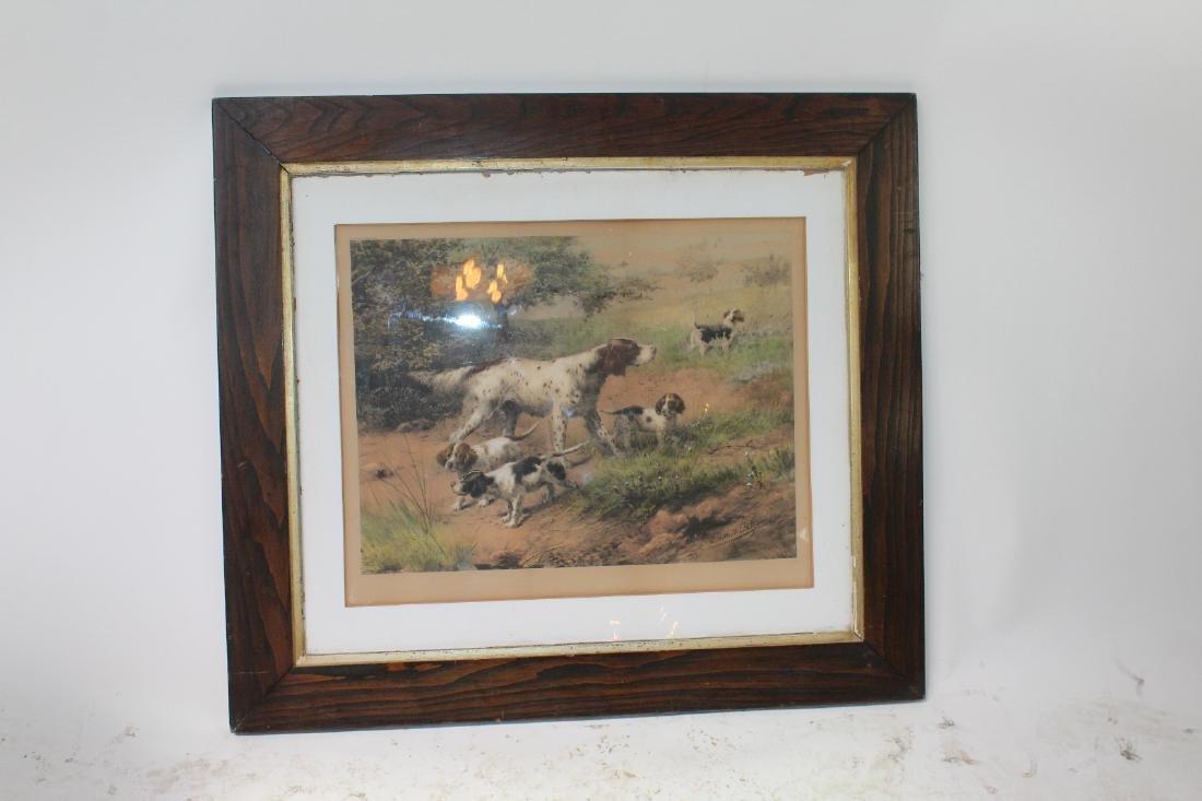 Framed Antique print depicting hunting dogs - 3