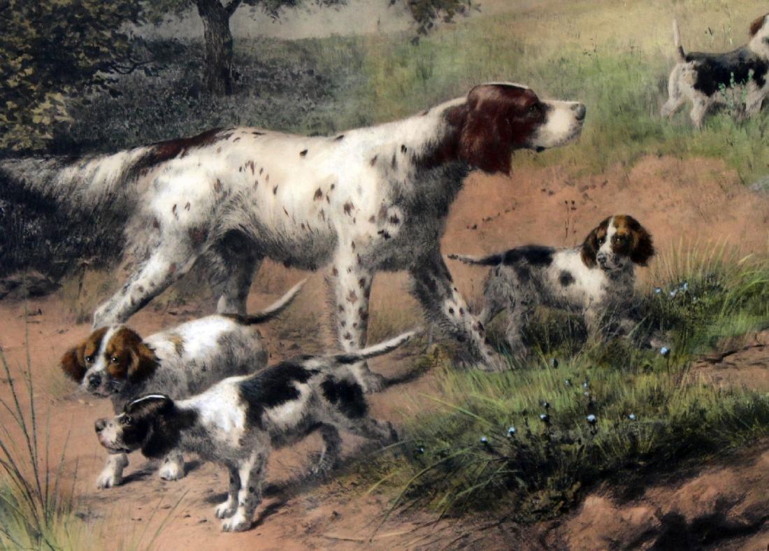 Framed Antique print depicting hunting dogs - 4