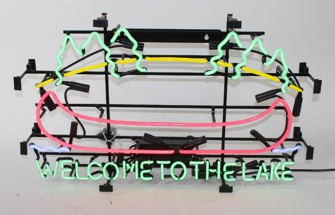 """Welcome to the Lake"" neon sign"