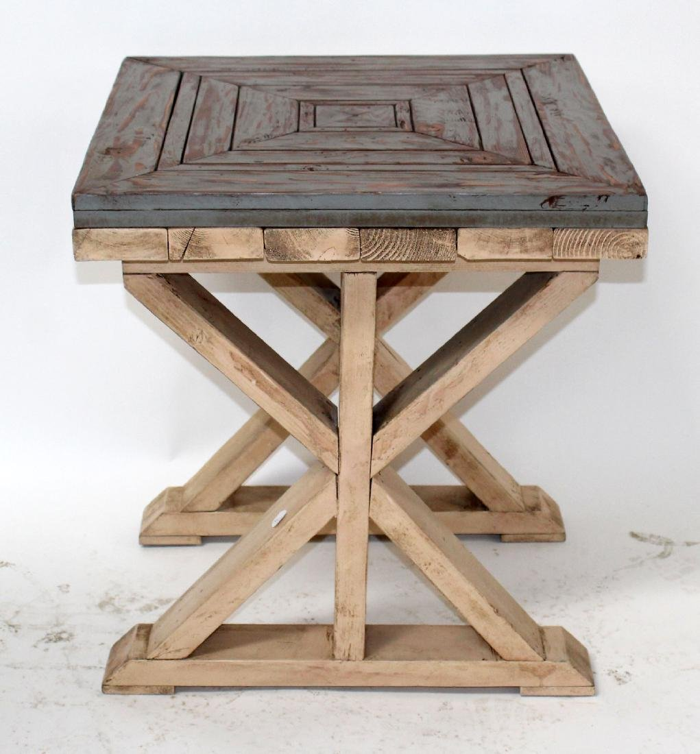 Rustic cross base painted side table