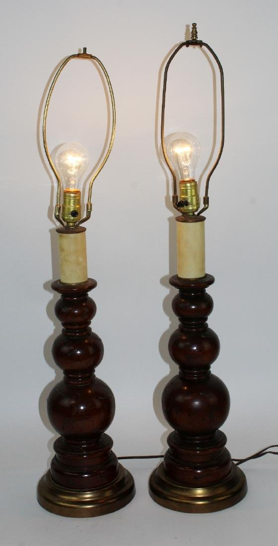 Pair of vintage turned wood lamps