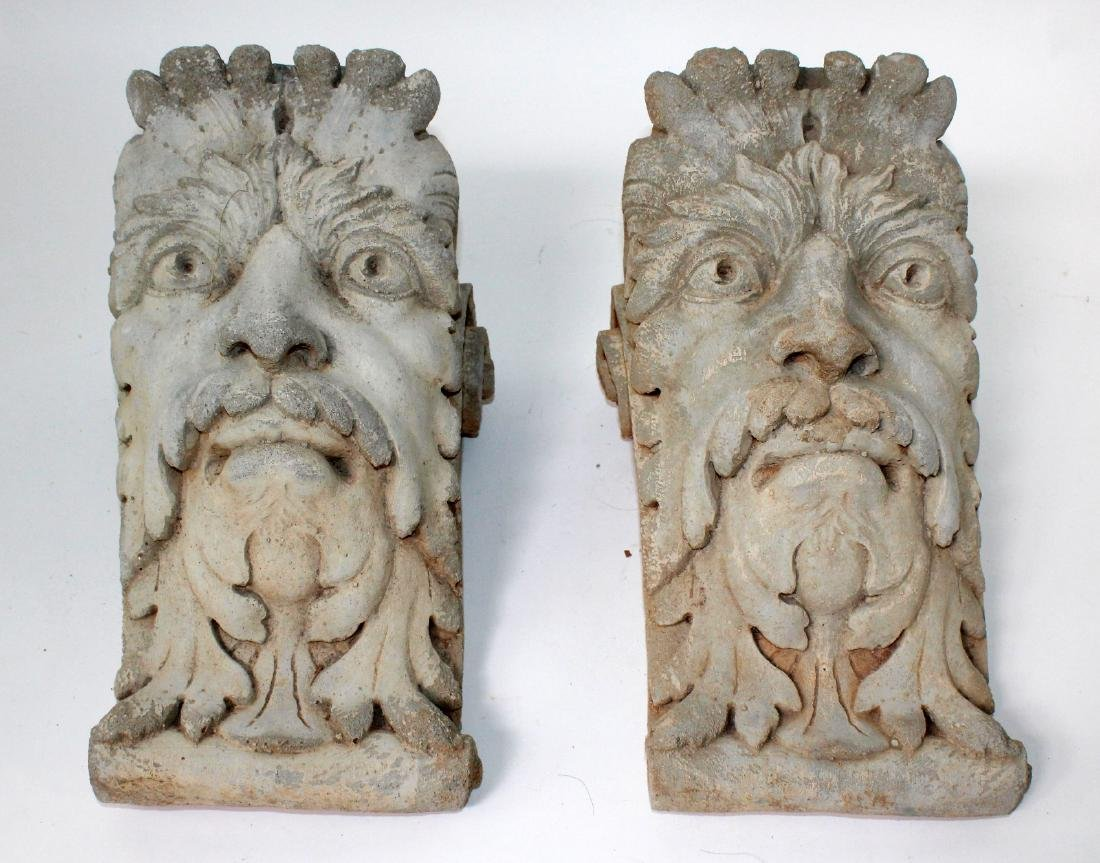 Pair of cast figural corbels