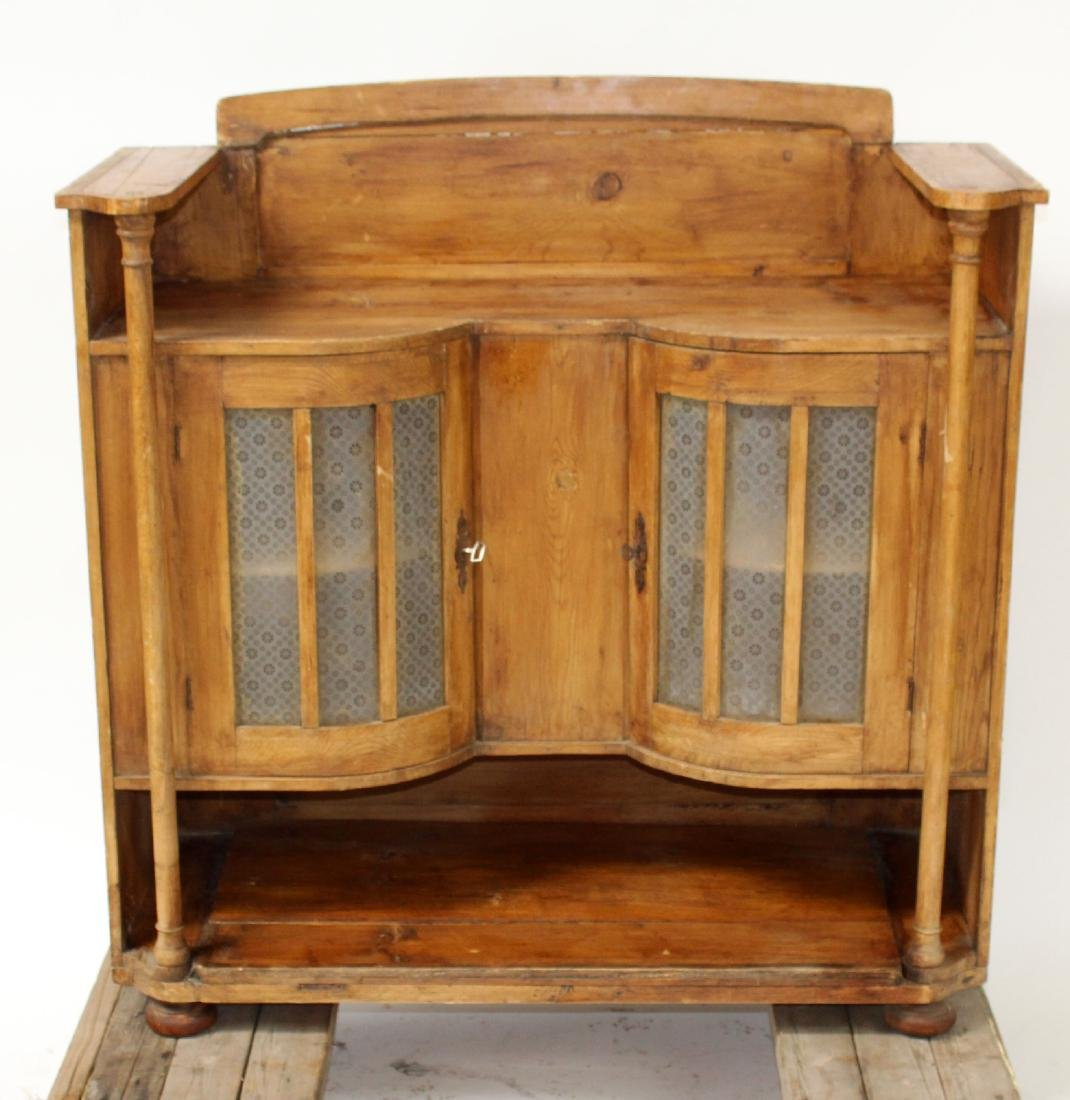 Pine console with curved glass side cabinets