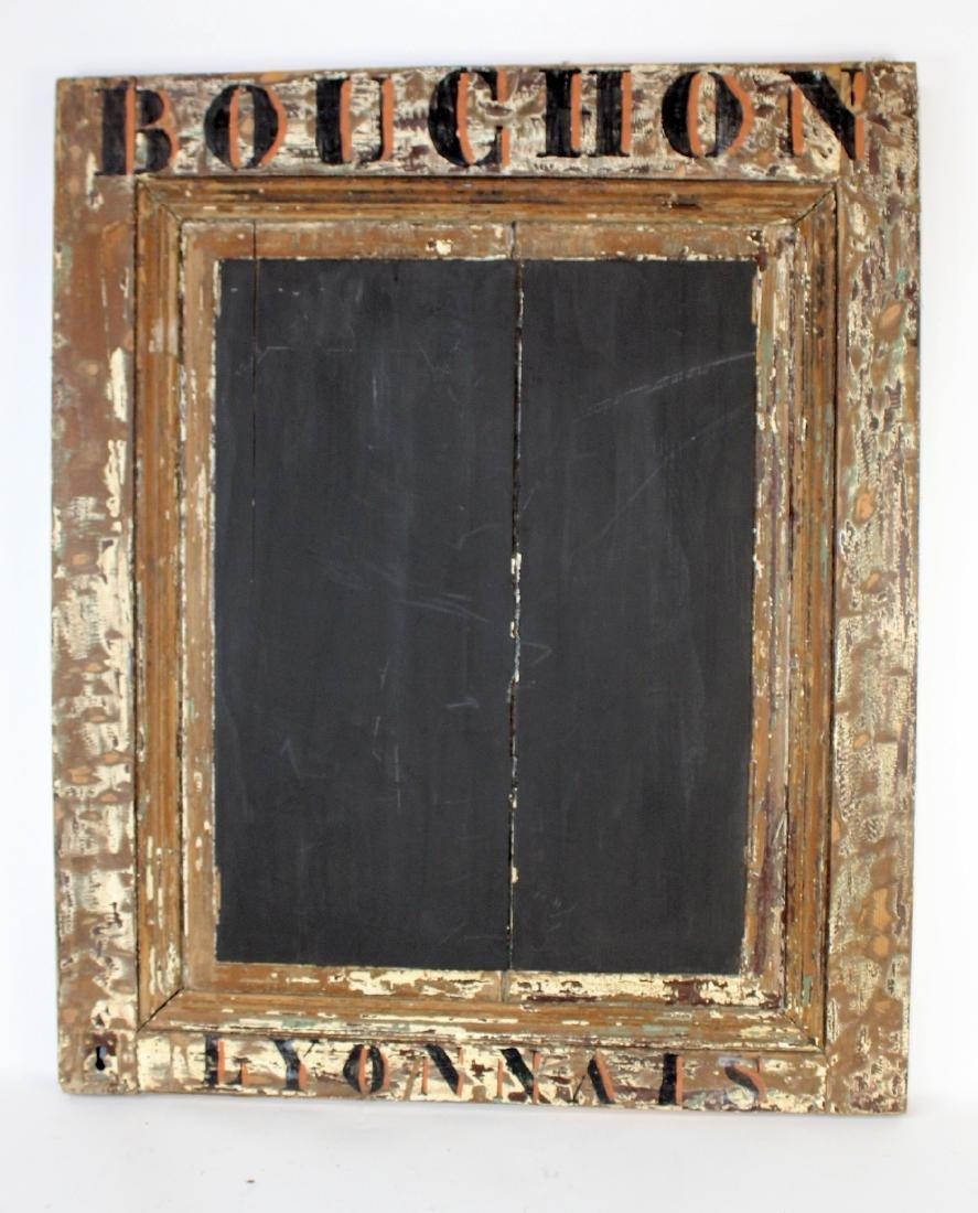 Rustic French Bouchon Lyonnais restaurant chalkboard