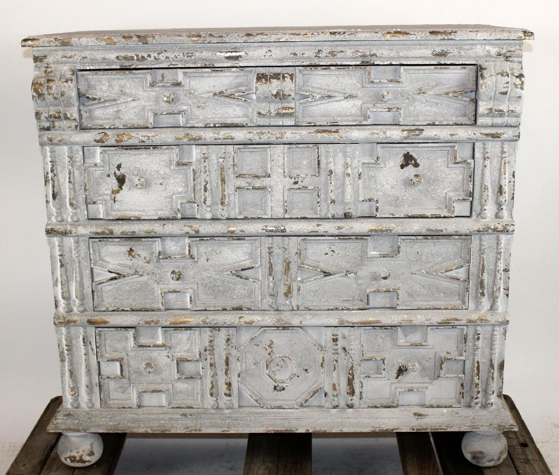 Distressed finish painted chest with raised panels