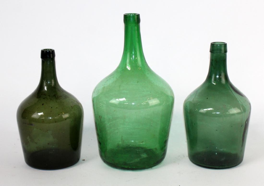 3 green glass demi john wine bottles