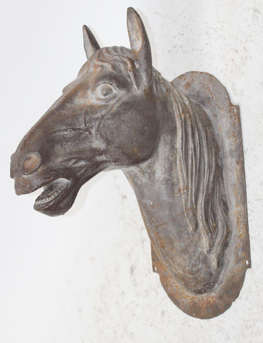 Cast iron relief horse head mount
