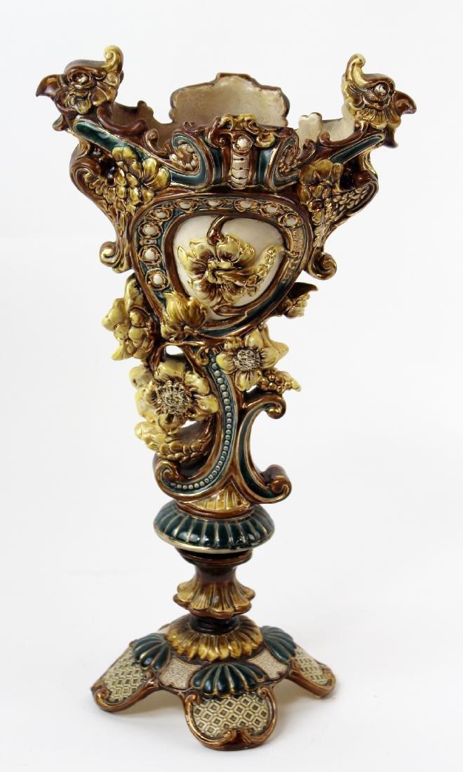 Wilhelm Schiller & Son floral Majolica vase