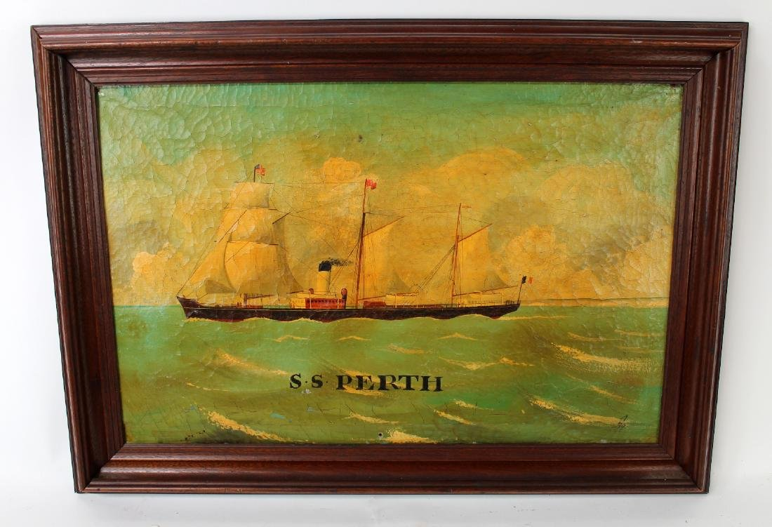 Oil on canvas SS Perth signed with monogram