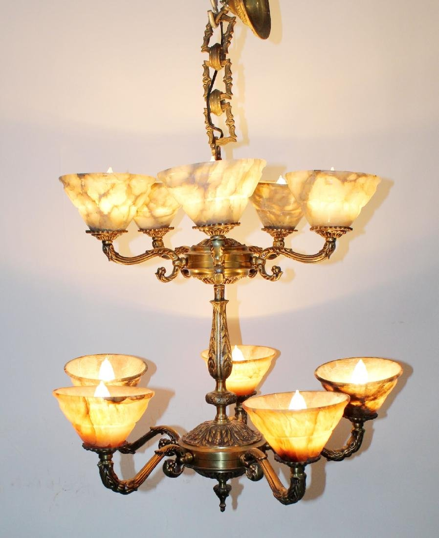 10 arm 2-tier bronze chandelier with alabaster shades