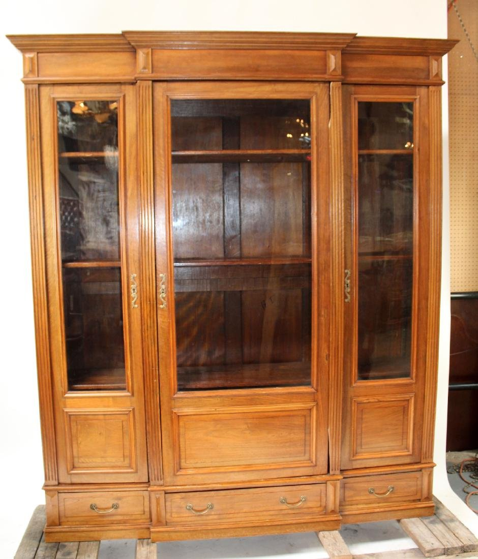 French 3 door bookcase in walnut