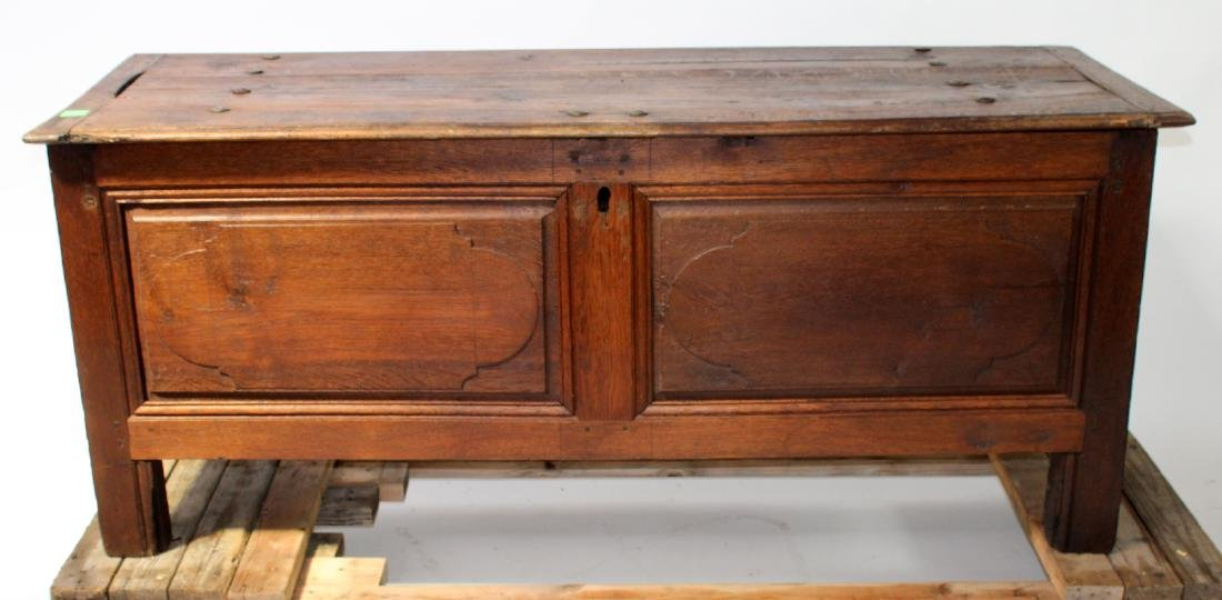 French rustic oak trunk with iron hardware