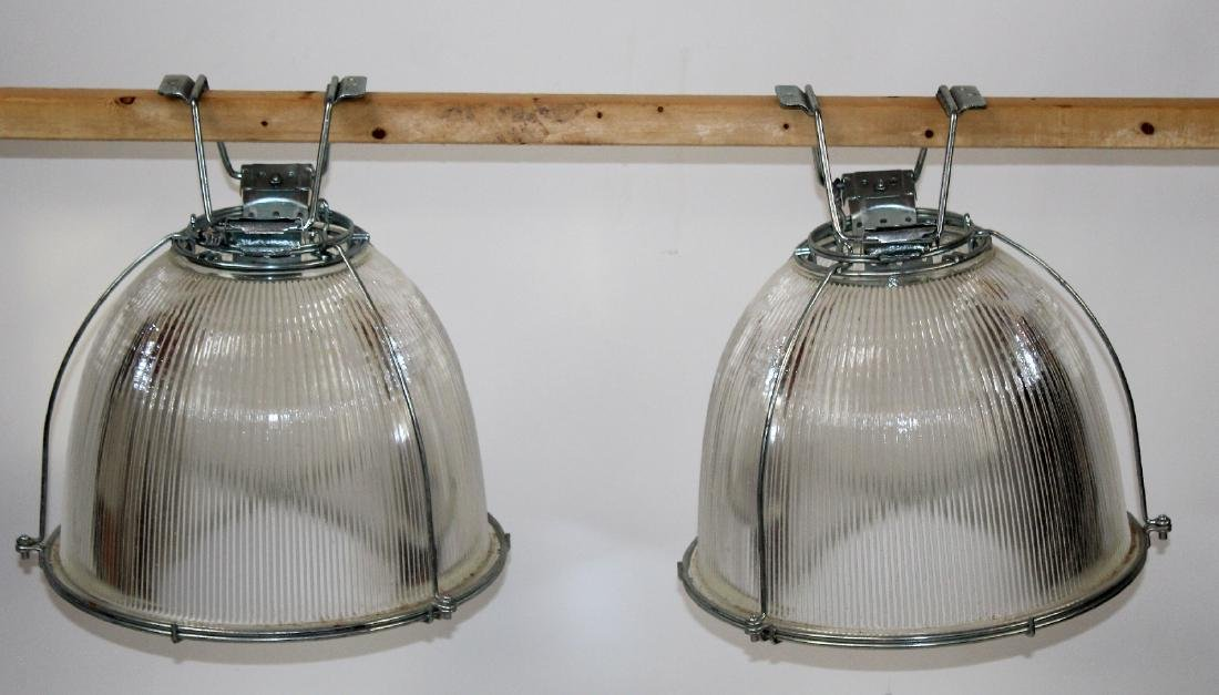 Pair of Industrial glass light shades
