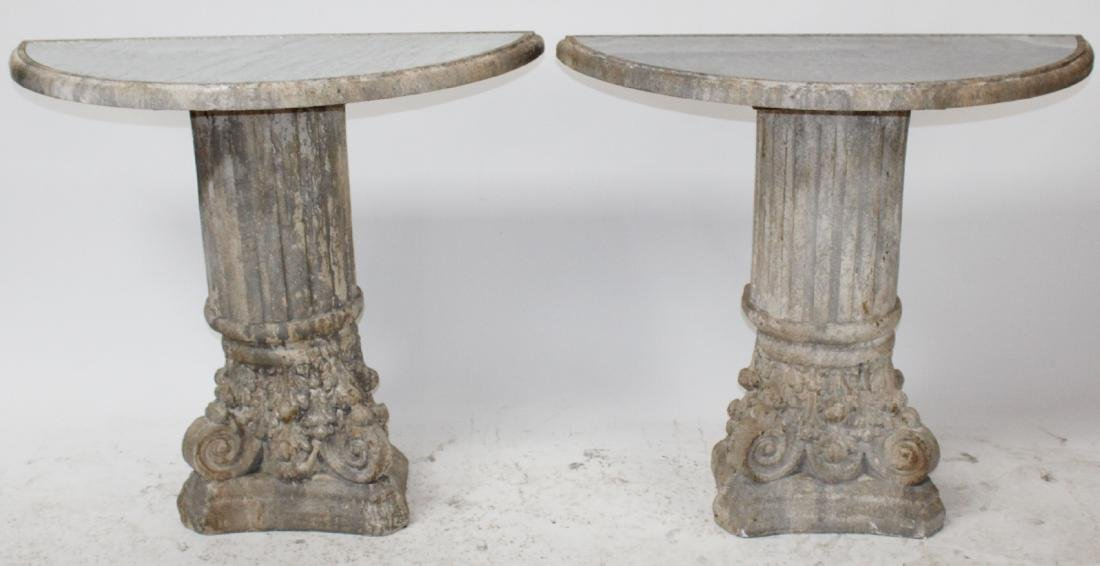 Pair of Corinthian column base console tables