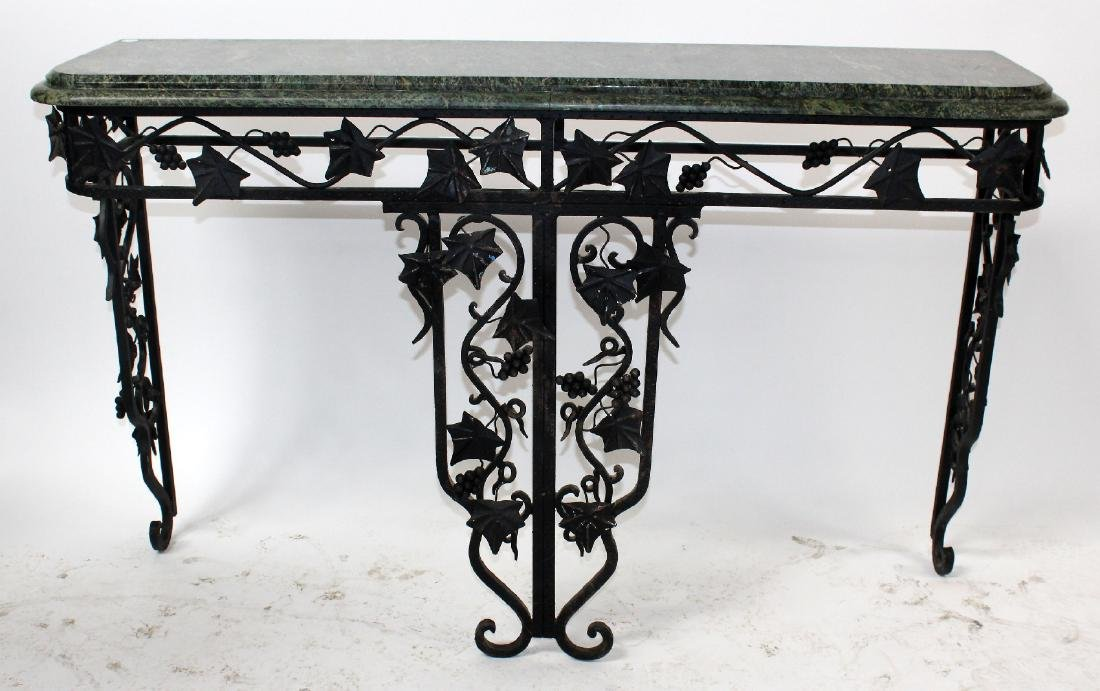 Forged iron console with green marble top