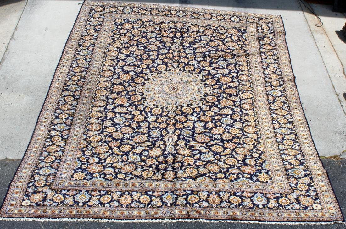 """9'10"""" x 13'8"""" Signed wool Persian Kashan carpet"""