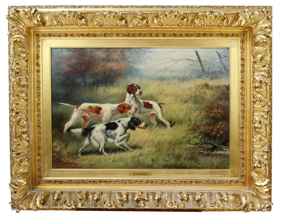 Schumacher oil on canvas depicting hunting dogs
