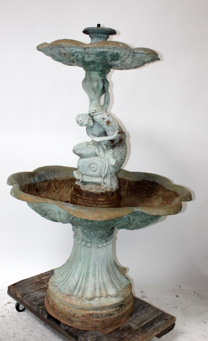Bronze female figural 2 tier fountain with dolphin