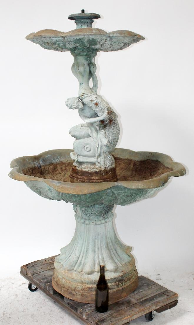 Bronze female figural 2 tier fountain with dolphin - 2