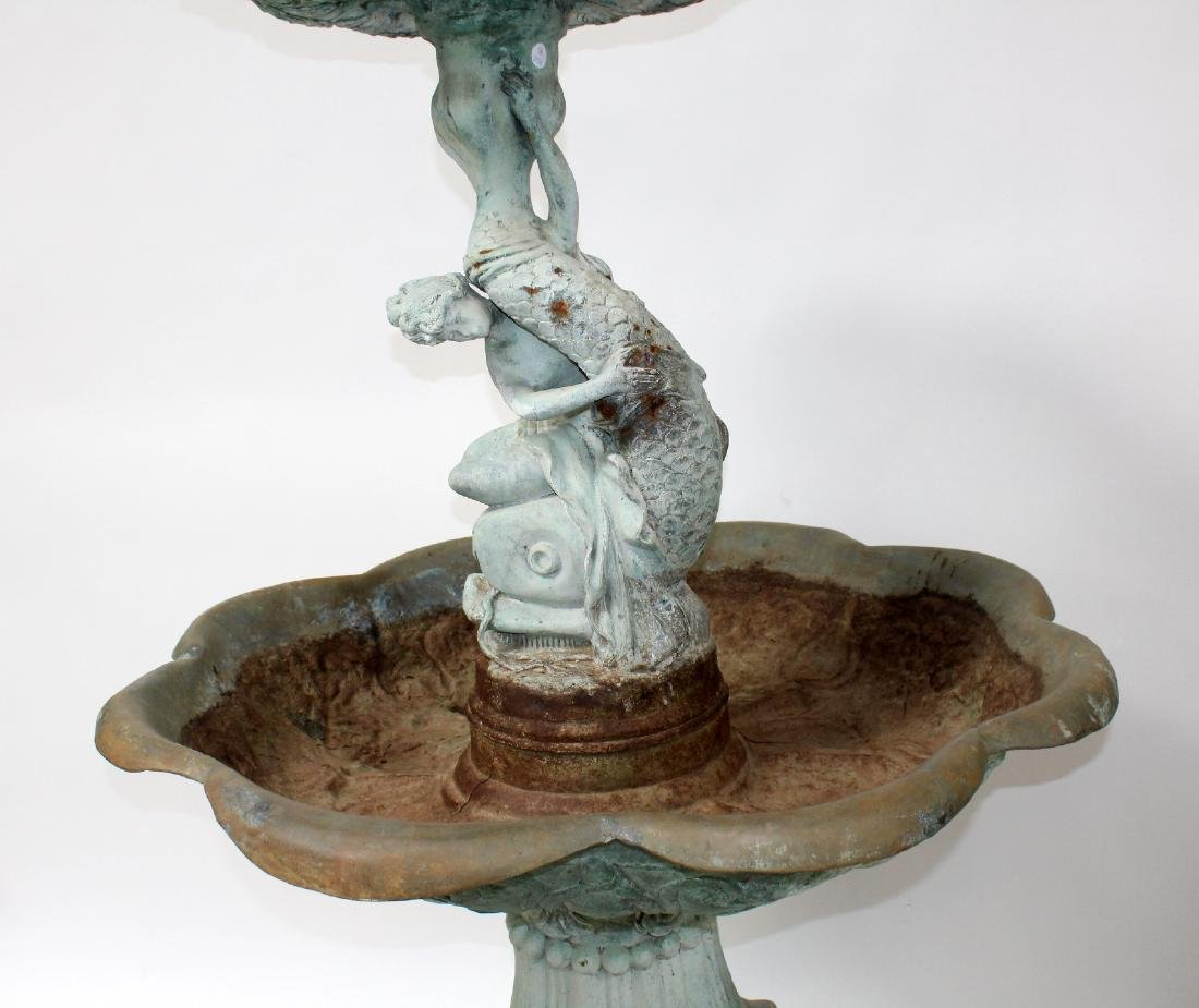 Bronze female figural 2 tier fountain with dolphin - 3