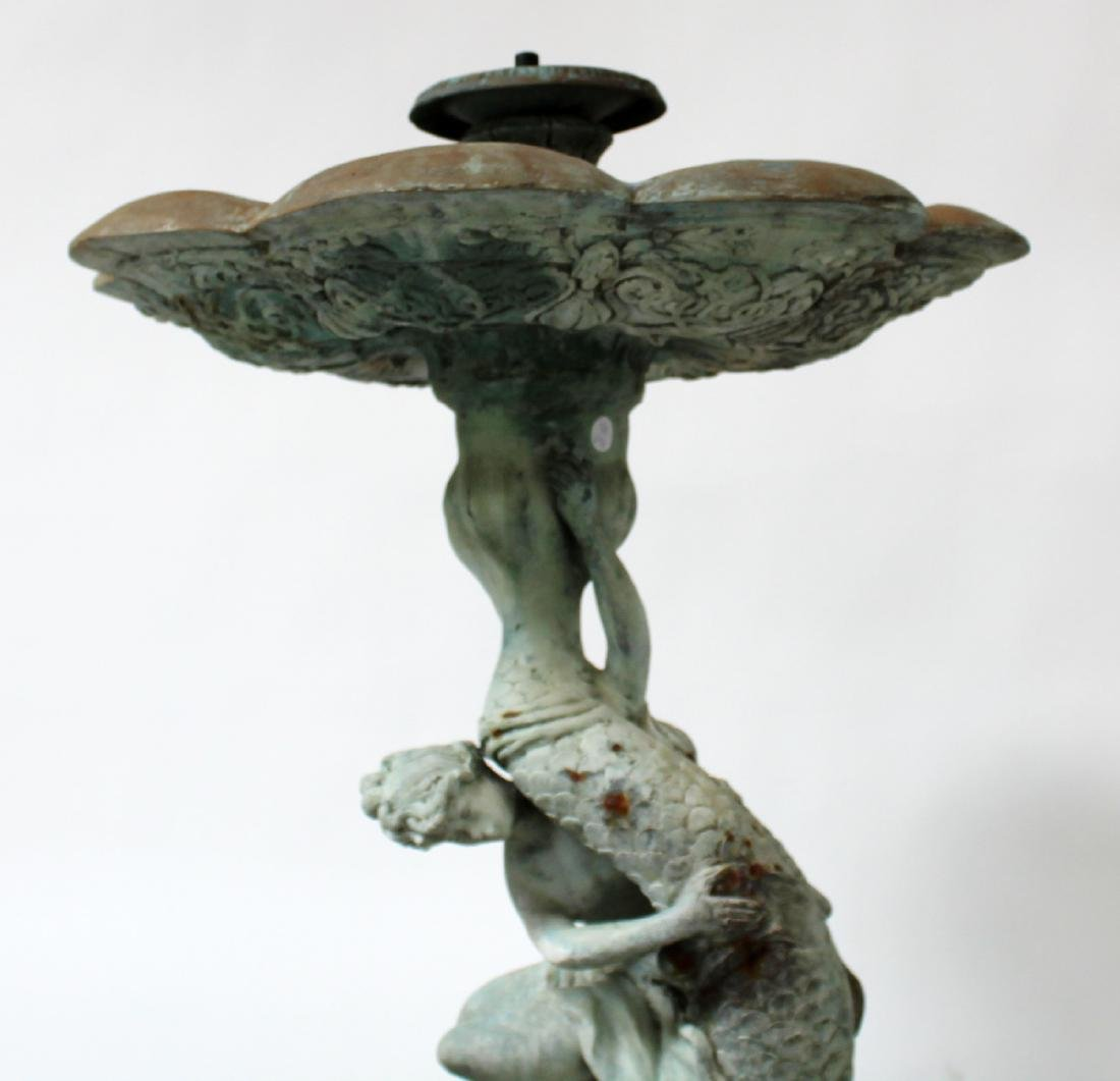 Bronze female figural 2 tier fountain with dolphin - 4