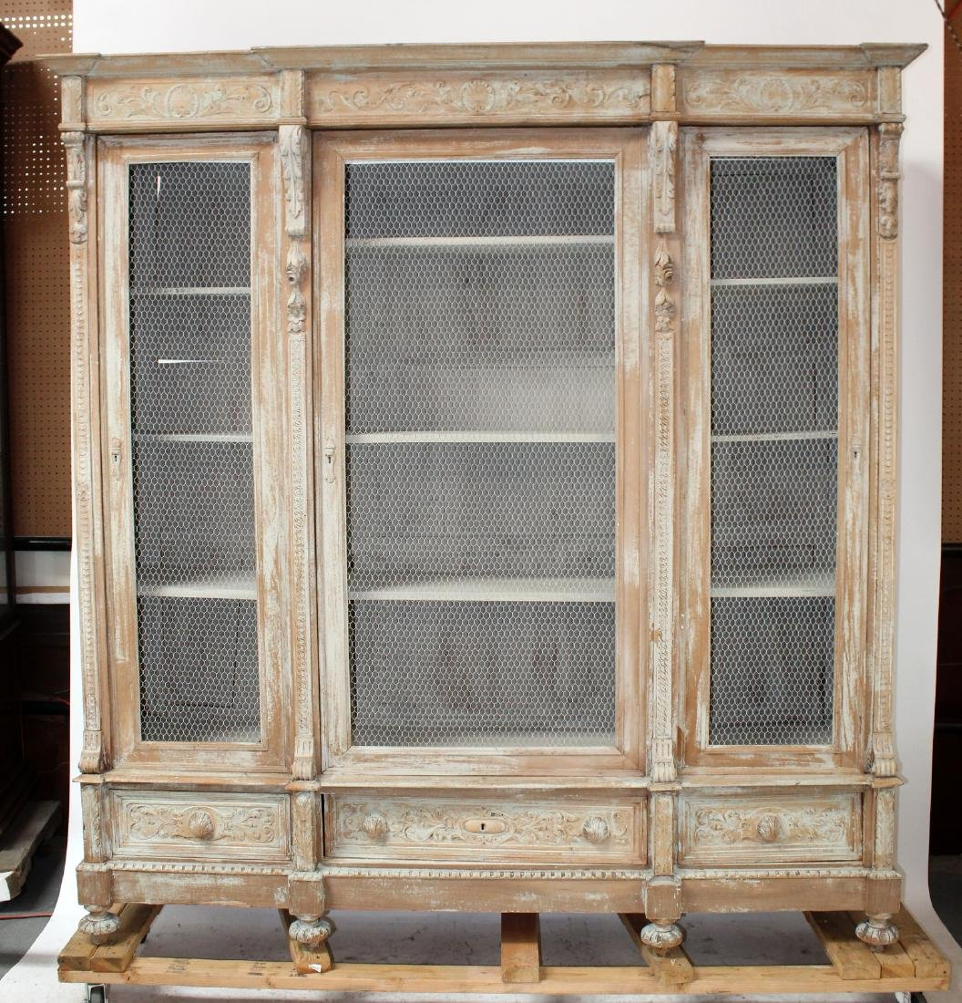 French Louis XIII triple bookcase