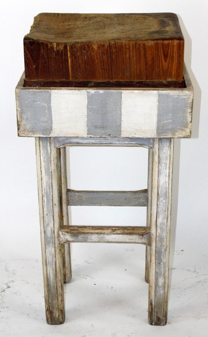 Antique end cut butcher block on painted stand