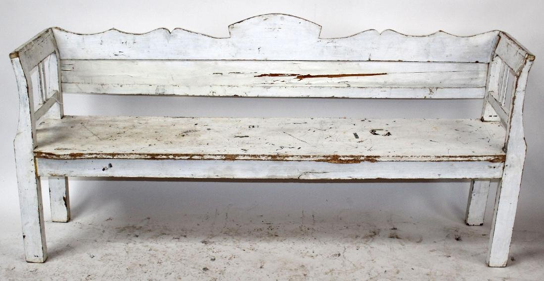 Painted Provincial shaped back bench