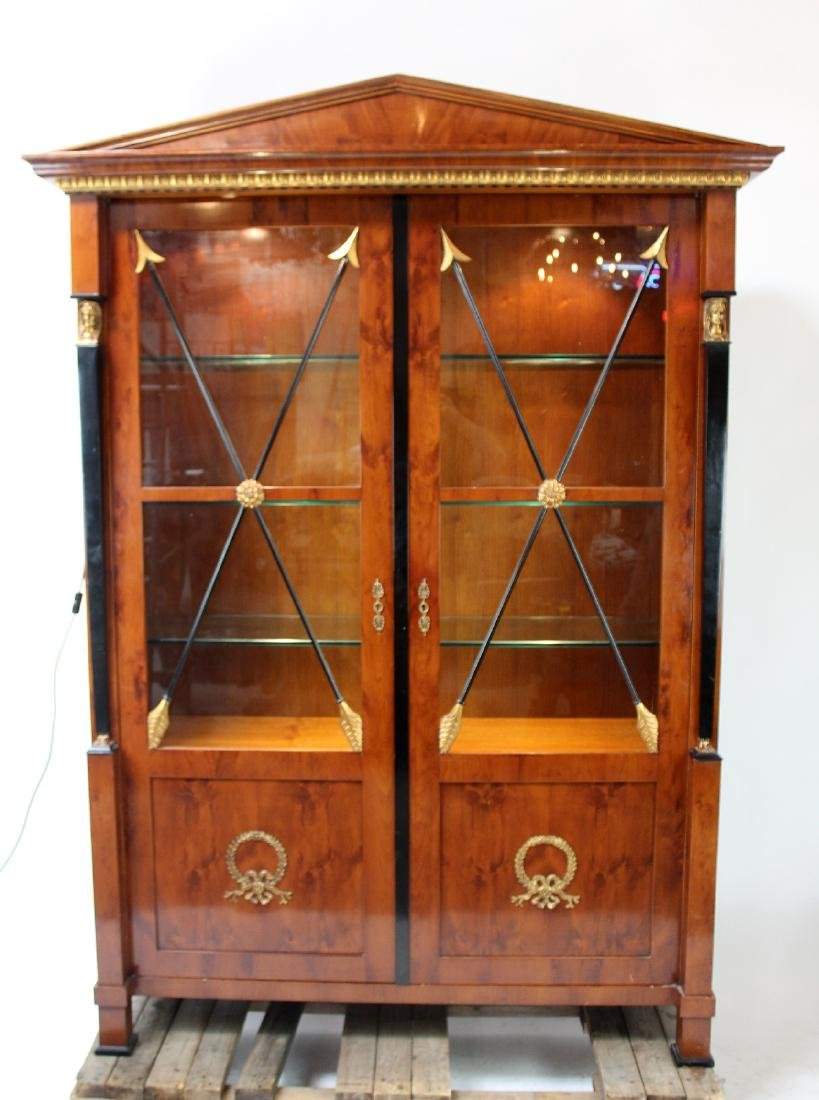 Empire style 2 door mahogany bookcase with arrow design