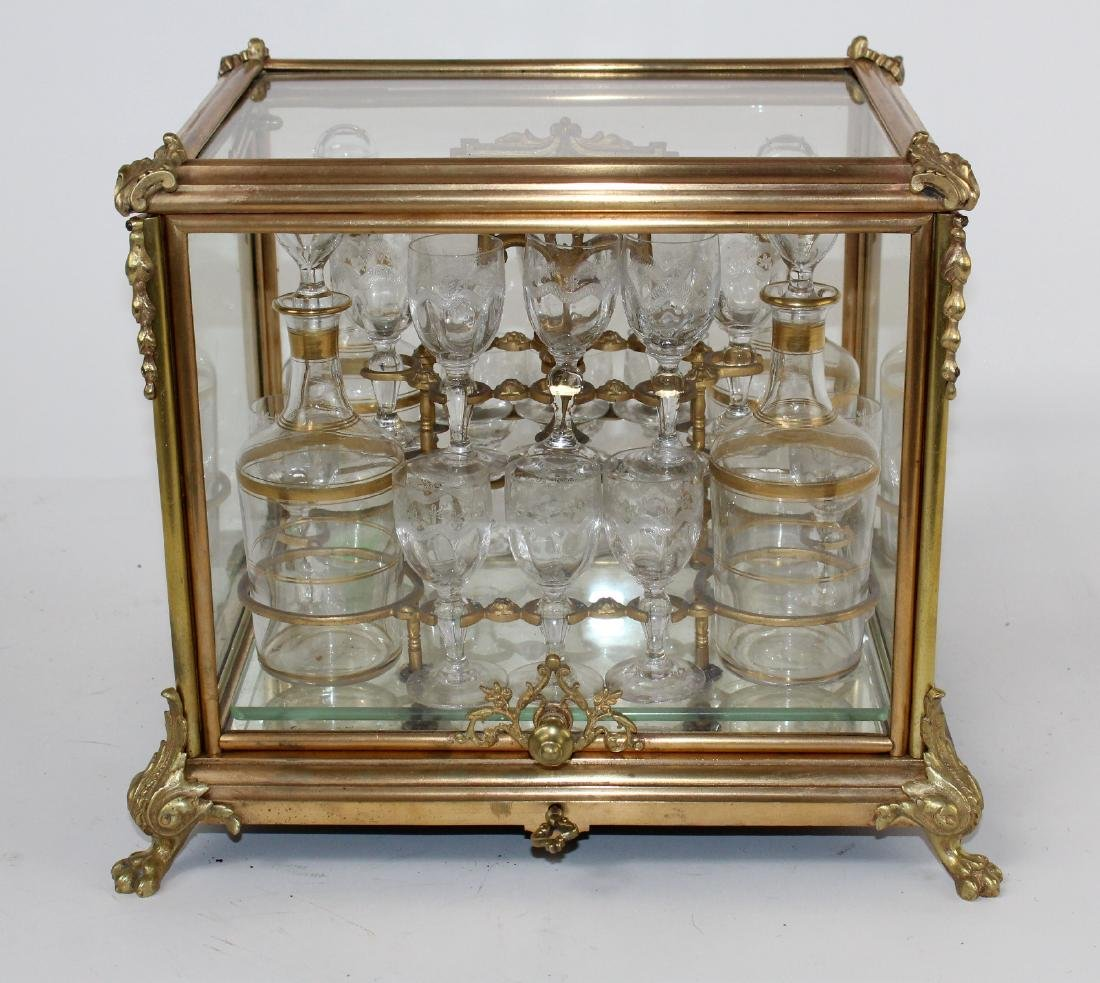 French Napoleon III tantalus set in glass and bronze