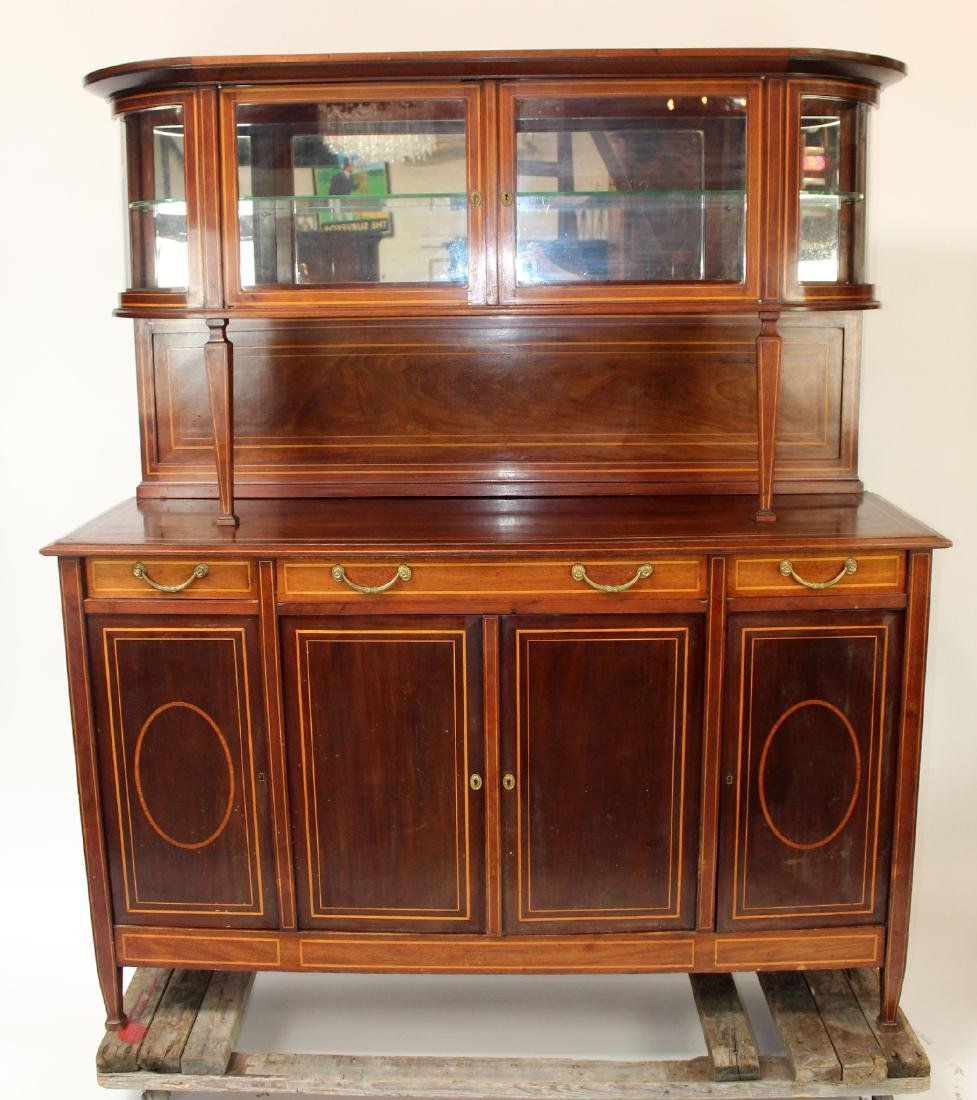 English Sheraton style banded mahogany buffet