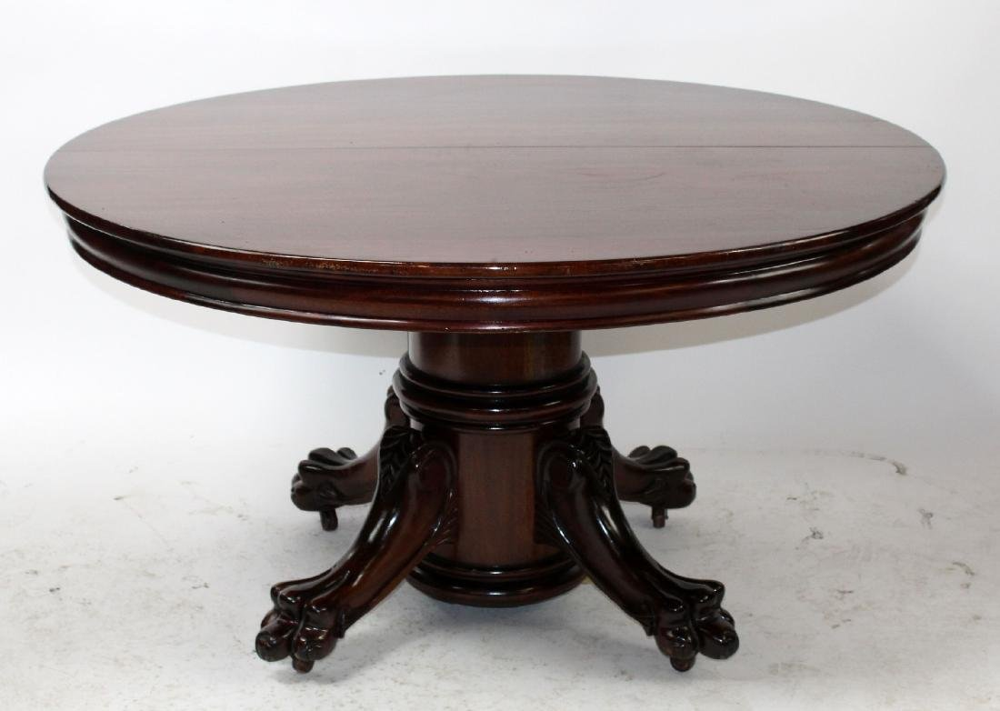 American Empire pedestal base mahognay dining table