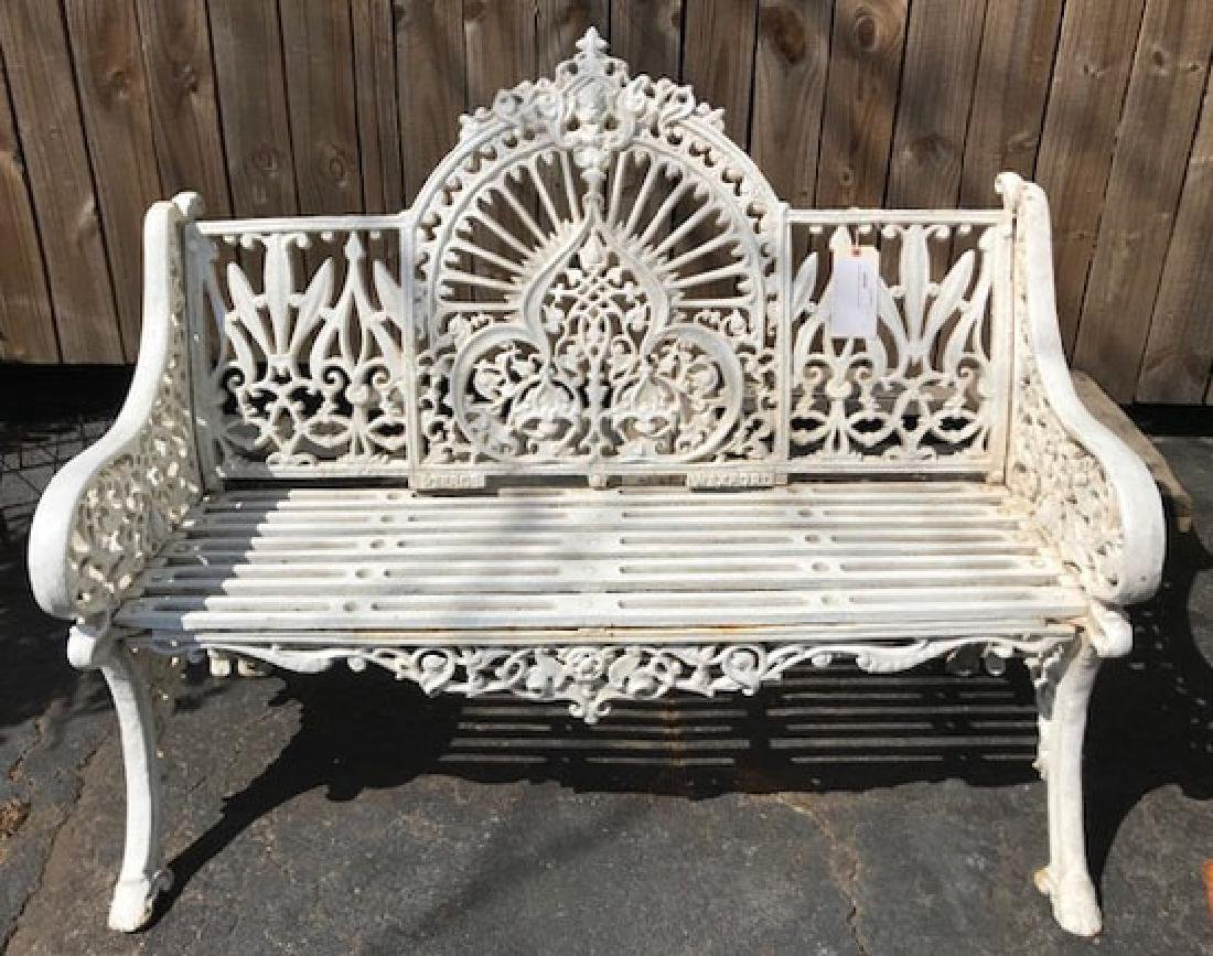 White cast iron park bench