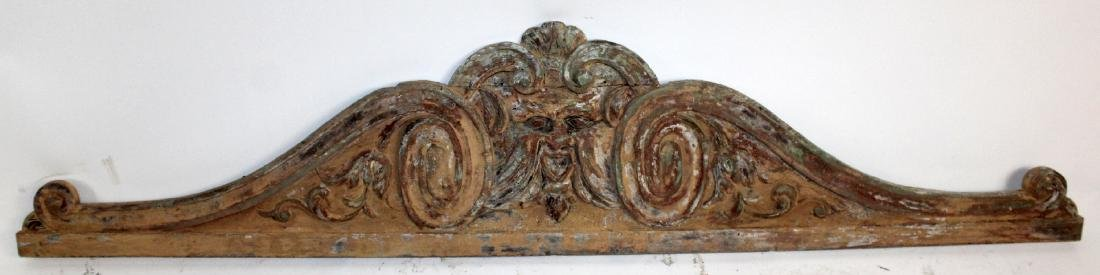 French carved wood overdoor pediment