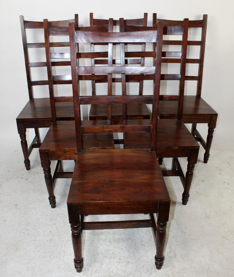 6 acacia wood ladder back chairs