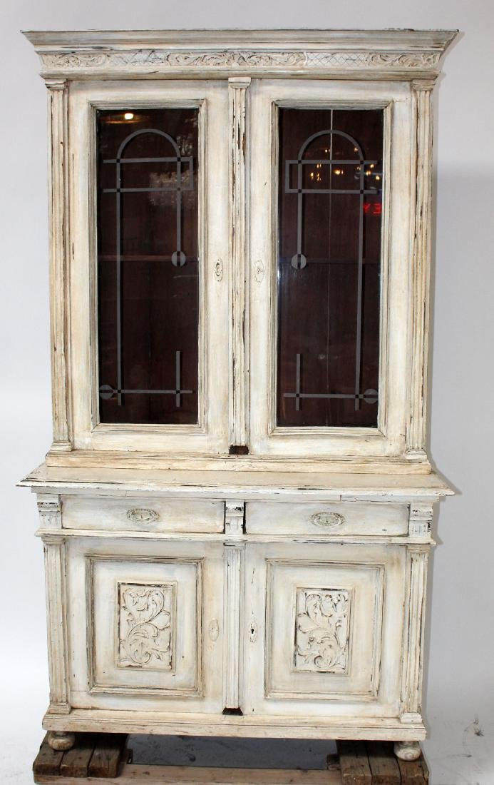 French painted bookcase with etched glass doors