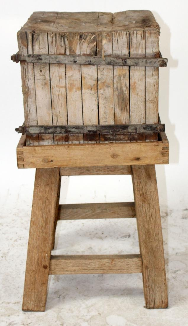 Rustic butcher block on stand